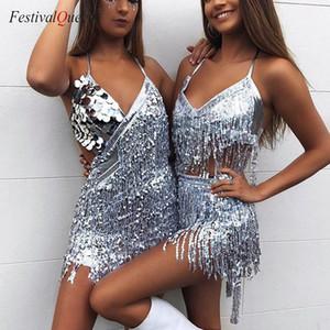 FestivalQueen сияющий Холтер мини платье блесток бахрома кисточкой позолота сценическое представление спинки латинский танец платье для женщин