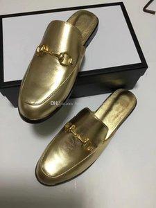 Para mujer para hombre todos los mocasines de cuero del oro mulas zapatilla diseñador mula zapatilla luxuy zapatos casuales mulas de oro grande del tamaño EUR34-46