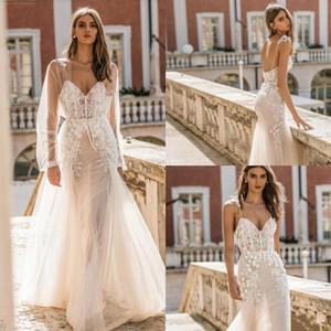 Новый дизайнер Берта Русалка Свадебные платья с длинным рукавом куртки оберткой 2020 Sexy кружева аппликация труба Повседневный отдыха невесты свадебное платье