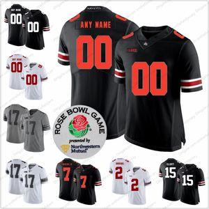 Encargo de Ohio State Buckeyes camiseta de fútbol 1 Justin Campos 2 Dobbins pequeños 5 Garrett Wilson Jr. Colina 14 17 Olave S-3XL