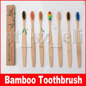 Bamboo escova de dentes para adultos Madeira Escova de bambu cerdas macias Natural Eco capitellum fibra de bambu cabo de madeira
