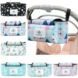 Grande Capacidade Baby Stroller Diaper Bag Pram Buggy Garrafa Waterproof Cup Titular Carrinho Stroller Organizer Fralda Hanging Bag Casual