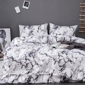 Urijk Imprimé Literie Marbre Set Duvet Noir Blanc Couverture Roi Queen Size Housse de couette en bref Linge de lit Consolateur 3Pcs