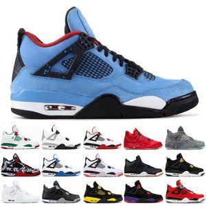 Nike Air Jordon 4 4 4s homens tênis de basquete criados CACTUS JACK tatuagem pizzeria preto THUNDER CACTUS JACK homens Trainer Designer tênis tênis de corrida 7-13