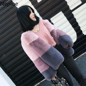 Neploe coreano Nuova imitazione Rabbit Fur Coat breve rappezzatura di modo Thicked giacca invernale dolce delle donne Casaco Feminino 46257 T191021