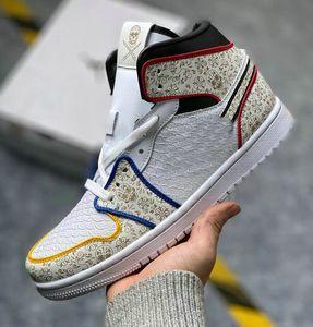 Ayakkabı Cerrah 1 Gün Ölü Erkek Basketbol Ayakkabı Deri yılan deseni beyaz siyah, kırmızı, sarı, mavi kafatası 3M Chaussures Eğitmenler arasında x