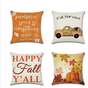 Cosecha de otoño Acción de gracias Fundas de almohada decorativas Pumpkin Car Happy Autumn Throw Funda de cojín Festival Decoración Funda de almohada al por mayor