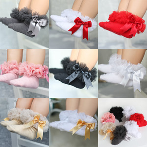 0-6T Çocuk Kız Çorap Bebek Tutu İplik Dantel Bow Çorap Bebekler Çocuklar Prenses Dans çorapları C1770 fırfır Bow