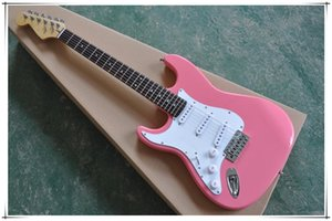 Left hand Pink Electric Guitar with Rosewood Fingerboard,White pickguard,chrome hardware,can be customized