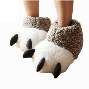 Neue Mode Thermische Winter Indoor Baumwolle Gepolsterte Plüsch Cartoon Bärentatze rutschfeste Hausschuhe Startseite Baumwolle Hausschuhe Boden Schuhe