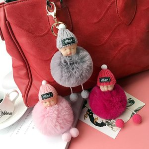 Sleeping Baby Keychains Fluffy Pompom Doll Key Chain Dream Baby Car Keyring Rabbit Hair Ball Bag Pendant Party Favor GGA3090-3