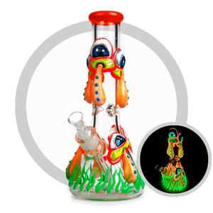 La mano del dibujo 3D del vidrio del arte del cubilete de cristal Bong luminoso fumadores Pipas de agua 7 mm de vidrio pesado fumadores Waterpies caliente de la venta