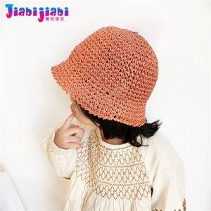 Panama Summer Straw Hat For Kids Baby Boys Girls Sunshade Bucket Hat Toddler Child monochrome UV Sun Visor Beach 1-4 old