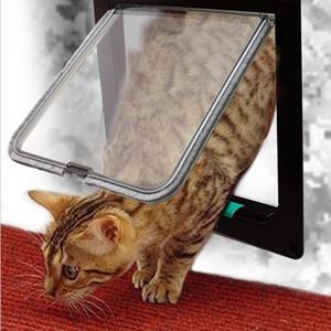 4 Way serratura gatto del cane del gattino accessori per la sicurezza porta porta ribaltabile ABS plastica S / M / L animale piccolo gatto domestico cane Porta porticina