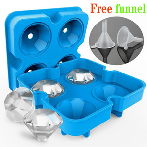 4 Cell Diamond Ice Ball Mold Silicone Ice Cube Tray Whiskey Ball Maker Ice Cream Molds Form Chocolate Mold For Party Bar