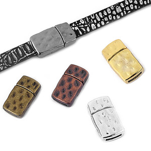 5pcs lot Five Color Pick Flat Strong Magnetic Clasp Hammered Geometric fit 10x2mm Flat Leather Cord Jewelry Making Accessories