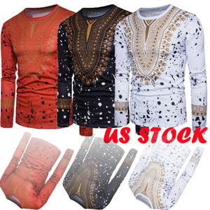 New Men Print African Print Dresses Long Sleeve T-shirt Traditional 2020 Fashion Style Adult Blouse Clothing