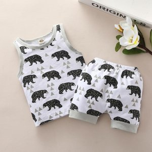 Kids Summer Casual Clothing Baby Boys Cartoon Prints Sleeveless T-shirt + Shorts Children 2pcs Clothes Hot