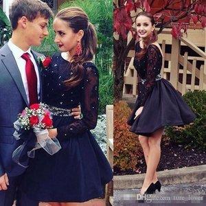 검은 홈 comming 드레스 오픈 짧은 파티 드레스 레이스 긴 소매 진주 페르시 무릎 길이 공식 파티 칵테일 가운