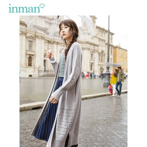 INMAN Herbst-runde Kragen-Jacquard Weave Strickjacke