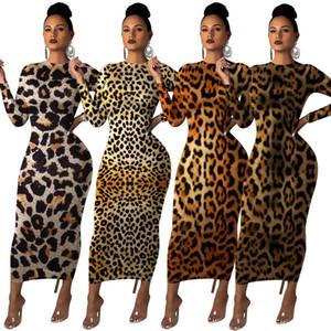 Uzun Kollu Midi Maxi Elbise Kadınlar Leopard Baskı BODYCON Elbise Moda Kulübü Gece Parti Elbise Robe Tunik vestidos