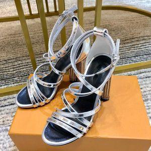 1A5KVF SCHATTEN SANDAL Designer Frauen 10CM hohe Absätze Blume Seltsame Heel-Schuhe Schaffell Sandalen High Heels Sandalen Neue Ankunft 35-41