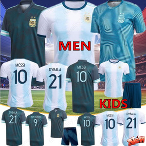 Thai 2020 Argentine # 10 MESSI # 9 AGUERO # 21 # 22 Dybala LAUTARO Soccer Jerseys Accueil shirts personnalisés Copa America Hommes Enfants Uniformes Football