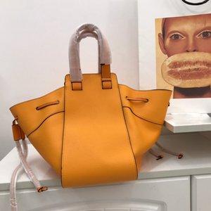 Brand design fashion women hammock handbgs lychee skin genuine leather casual totes drawstring female shoulder bags free shipping