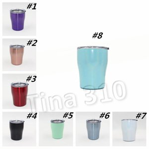yeni 10 oz paslanmaz çelik eğrisi tumbler çift duvar yalıtım vakum su araba fincan gökkuşağı renk kahve kupalar bira kupa şarap gözlük T2I55286