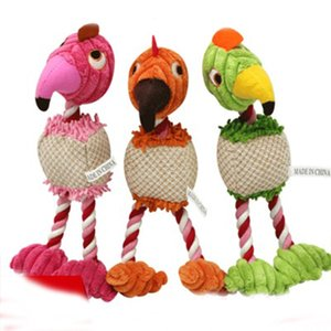 Tres colores cuerda de algodón para mascotas vocal pájaro de juguete de algodón ropa de perro de caza de sonido juguetes de felpa muñeca creativa