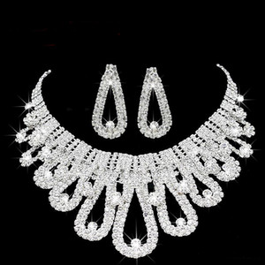 2019 Romantic Pérola Designer Com o Crystal baratos Two Pieces brincos colar de strass nupcial do casamento conjuntos de jóias Set Jewerly