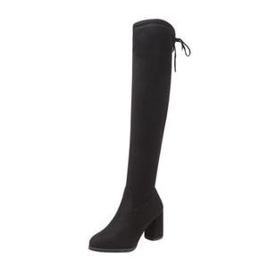 Новый Flock Кожа женщины над коленом Boots Узелок Sexy Высокие каблуки Женская обувь Узелок Зимние сапоги Теплый Размер 35-40 T200104