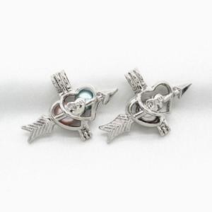 Amore Freccia Pearl Cage Pendant essenziali Profumo Medaglioni olio Charms Diffusore collana di 10pcs Cupido per Jewelry Silver Pearl