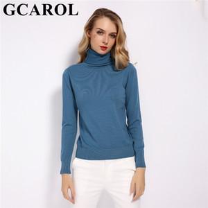 GCAROL 2019 New 30% de lã camisola de gola alta Queda Inverno Jumper Render, tops de malha básico do pulôver cor sólida Lady malha