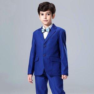 Popüler Blue Boys Resmi OccasionTuxedos Notch Yaka Merkezi Vent Çocuklar Düğün Smokin Çocuk Suit Tatil giysi (Ceket + Pantolon