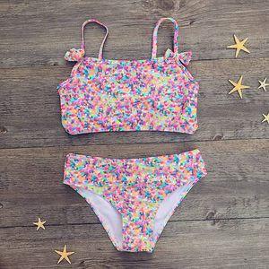 Lovely Girl Tankini Bow Knot Floral Impresso Bikini Tops Bottoms Swimwear Swimsuit Beach Suit