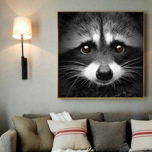 Cute Raccoon стены искусства животных Живопись Холст печати Плакат Изображение животных Плакат Современный дом Украшение в черно-белый цвет