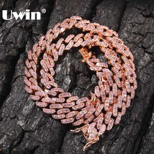 UWIN 9 millimetri fuori ghiacciato Donne Girocollo Collana in oro rosa metallo Cuban link completo Con Rosa Cubic Zirconia dei monili della catena Stones
