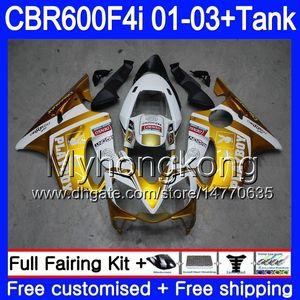 Corpo + serbatoio per HONDA CBR 600F4i CBR600FS CBR600F4i 01 02 03 286HM.34 bianco dorato nuovo CBR600 F4i 600 FS CBR 600 F4i 2001 2002 2003 Carene