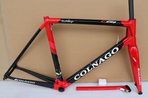 seçim için 15 renkleri ile 2019 Yeni varış T1100 UD Parlak Siyah Kırmızı Colnago C64 karbon yol çerçeve bisiklet Çerçeve kümesi