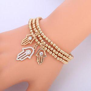Gold Evil Eye Armband Türkische CZ Kristall Kleine Charme Hand Von Hamsa Armbänder Für Frauen Elastische Kette Mode Perlenschmuck Geschenke