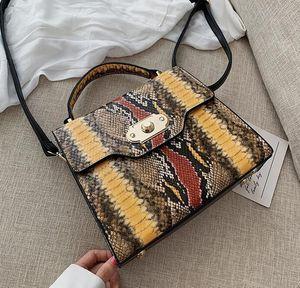 Дизайнер Женщины Серпантин Crossbody Luxury Lady Vintage сумки Fashion Square Стопорные контрастного цвета Сумки /