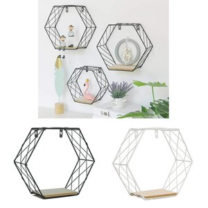 Nordic Style Metal Decorative Shelf Hexagon Storage Holder Rack Shelves Hanging Home Wall Decoration Potted Ornament