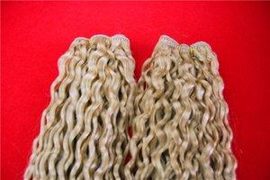 플래티넘 금발 변태 곱슬 번들 브라질 머리 직물 번들 28 32 30 인치의 비 레미 100 % 인간의 머리 번들 머리 확장
