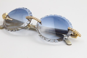 Büyük Taşlar Çerçevesiz Beyaz Hakiki Boynuz Gözlükleri 3524012 Boy Yuvarlak Güneş Gözlüğü Blinged Out Degrade Lensler Benzersiz Boy Şekiller Gözlük