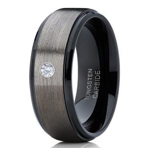 Herren 8mm Silber gebürstet schwarzer Rand Hartmetall Ring Diamant Ehering Schmuck für Männer US-Größe 6-13
