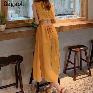 Gagaok Donne A-Line abito vintage 2020 Piazza Nuova Summer Collar Button Solid maniche Chic selvaggio Midi Abiti Waistless Moda