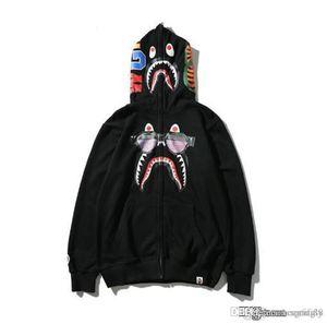 2017 New JAPAN Bap A Bathing A Ape Men's Shark Head Jacket Sweats HOODIE BAP Sunglasses shark Logo Sweater Coat54