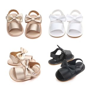 Recién nacido de los bebés del Bowknot de la princesa zapatos infantiles lindo a estrenar del niño de las sandalias del verano de la PU antideslizante de goma ShoesSize 0-18M