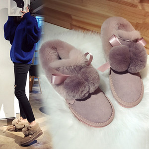 Winter warm snow-boots riband puffer ball ankle botines flock flats with plush short botas mujer bow-tied booties woman furry 40